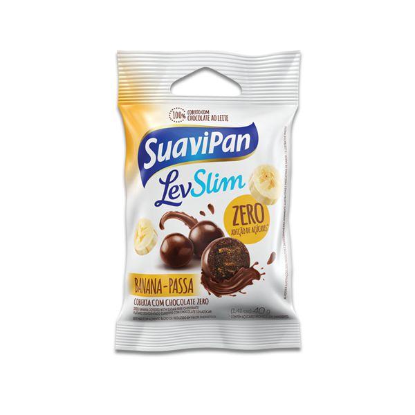 Drageados Zero Açúcar Banana-Passa coberto com Chocolate Suavipan Unidade de 40g