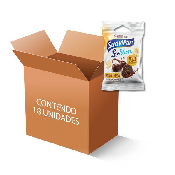 Drageados Zero Açúcar Banana-Passa coberto com Chocolate Suavipan contendo 18 pacotes de 40g cada