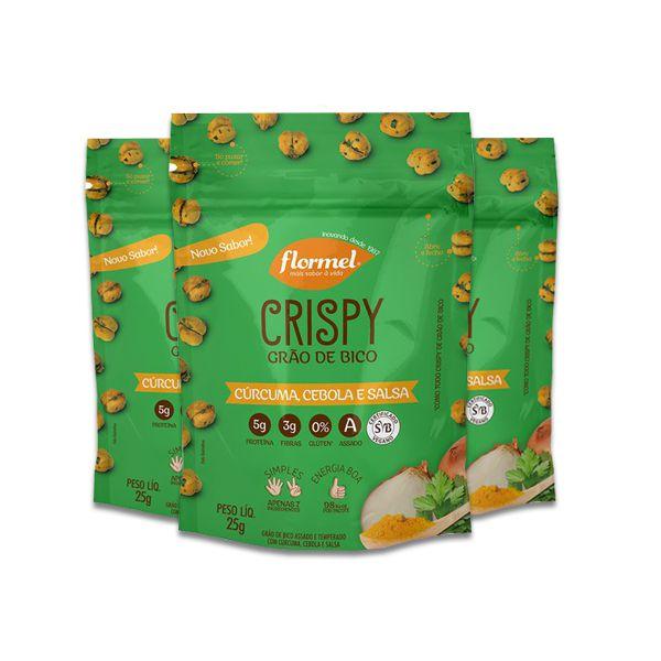 Grão De Bico Crispy Flormel Com Cúrcuma, Cebola e Salsa Contendo 8 Pacotes De 25g Cada
