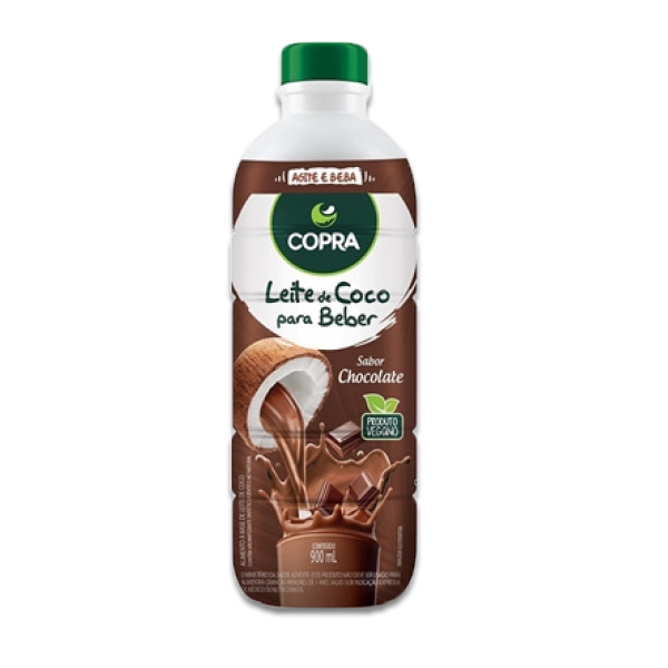 Leite De Coco sabor Chocolate Pronto Para Beber Copra 900ml