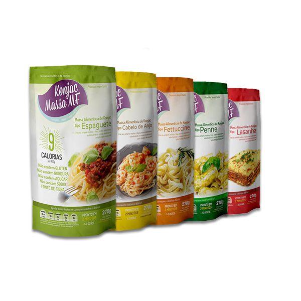 Macarrão Konjac Massa MF Sortido contendo 05 unidades de 270g - Noodles, Cabelo de Anjo, Fetuccine, Penne e Espaguete