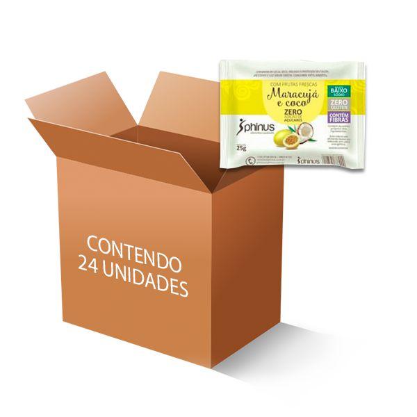 Maracujá e Coco Zero Açúcar, Zero Glúten 63% Frutas Phinus contendo 24 unidades