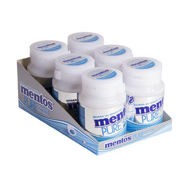 Mentos Pote Pure White Menta Contendo 6 Frascos Com 28 Unidades Cada - GANHE 1UN FRUIT-TELLA