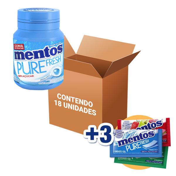 Mentos Pote Pure Fresh Mint contendo 18 unidades - GANHE 3UN MENTOS 3 CAMADAS!!!