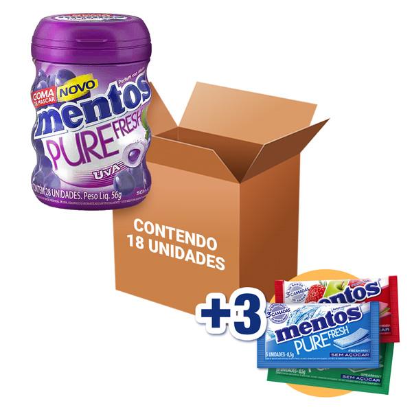 Mentos Pote Pure Fresh Uva Contendo 18 Frascos - GANHE 3UN MENTOS 3 CAMADAS!!!