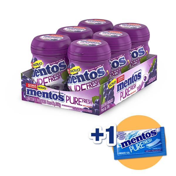 Mentos Pote Pure Fresh Uva Contendo 6 Frascos Com 28 Unidades Cada - GANHE 1UN MENTOS 3 CAMADAS!!!