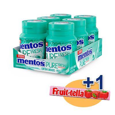 Mentos Pote Pure Fresh Wintergreen Contendo 6 Frascos Com 28 Unidades Cada - GANHE 1UN FRUIT-TELLA MORANGO