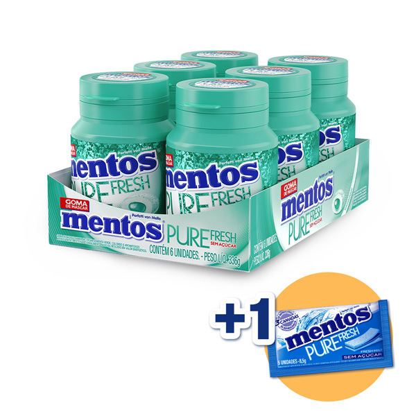 Mentos Pote Pure Fresh Wintergreen Contendo 6 Frascos Com 28 Unidades Cada - GANHE 1UN MENTOS 3 CAMADAS!!!