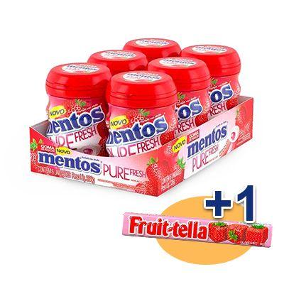 Mentos Pote Pure Fruit Morango Contendo 6 Frascos Com 28 Unidades Cada - GANHE 1UN FRUIT-TELLA MORANGO