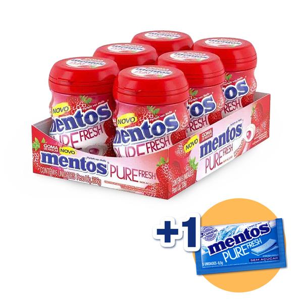 Mentos Pote Pure Fruit Morango Contendo 6 Frascos Com 28 Unidades Cada - GANHE 1UN MENTOS 3 CAMADAS!!!