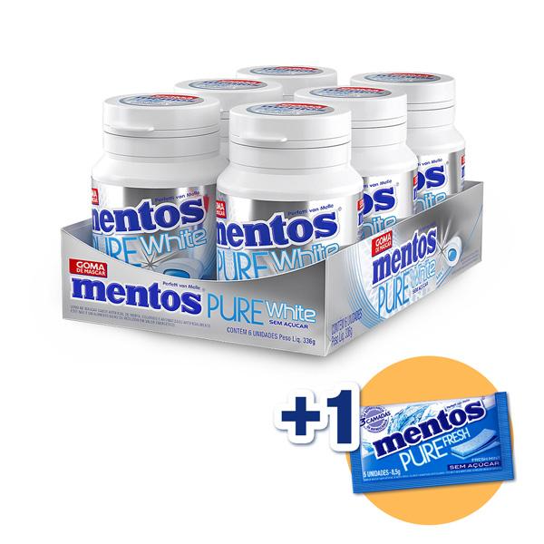 Mentos Pote Pure White Menta Contendo 6 Frascos Com 28 Unidades Cada - GANHE 1UN MENTOS 3 CAMADAS!!!