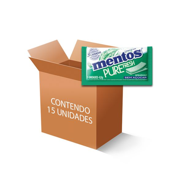Mentos Pure Fresh 3 Camadas Spearmint contendo 15 Sticks