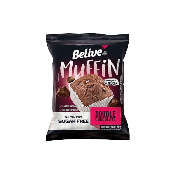 Muffin Belive Be Free Double Chocolate Sem Glúten, Açúcar E Lactose 40g