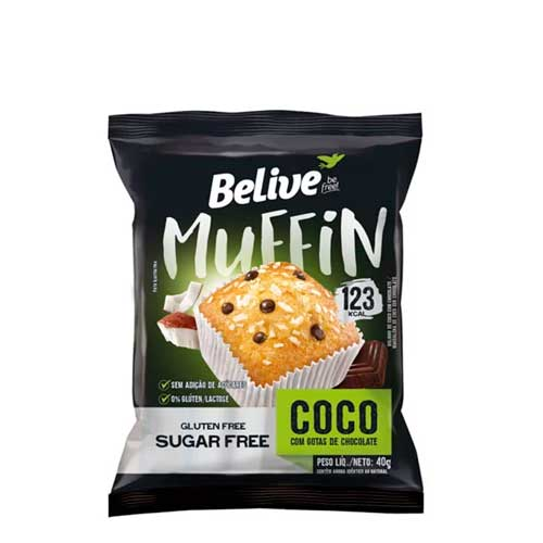 Muffin Sem Glúten, Sem Açúcar, Belive Be Free Coco + Chocolate Contendo 10 Unidades De 40g Cada