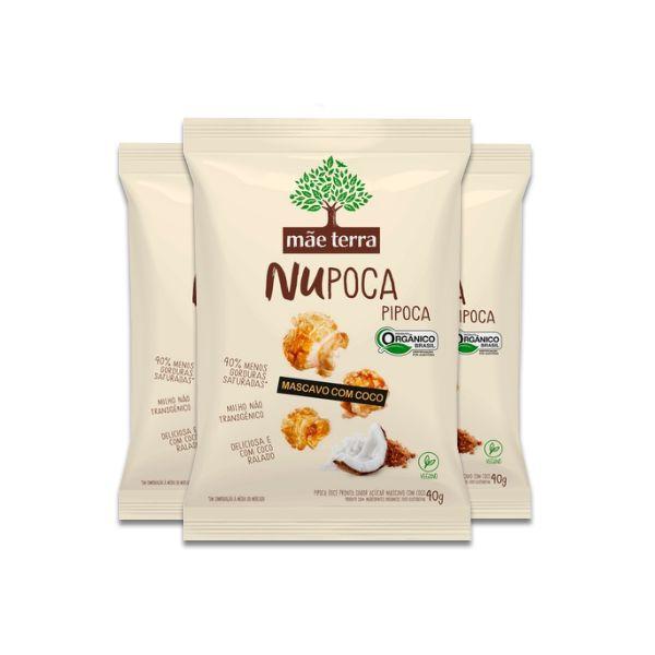 Pipoca  com Açúcar Mascavo e Coco NuPoca Vegana, Orgânica Mãe Terra contendo 3 pacotes de 40g cada