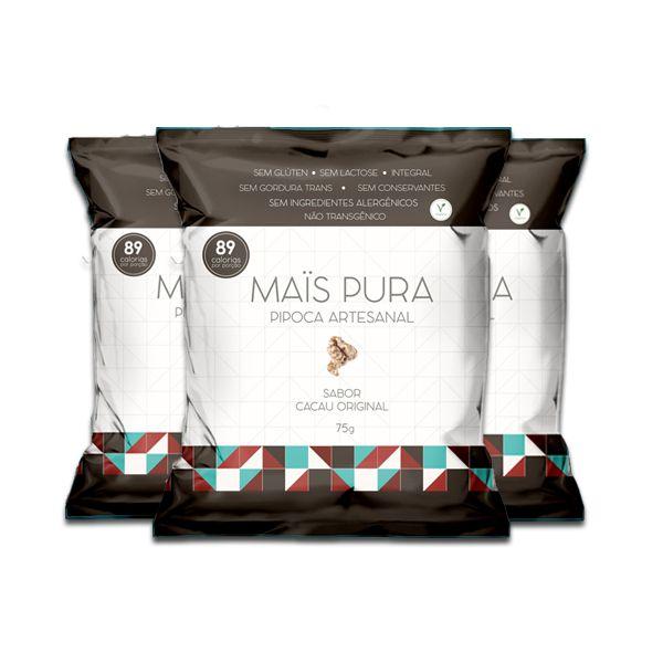 Pipoca Mais Pura Sabor Cacau Original Contendo 3 Pacotes De 75g Cada