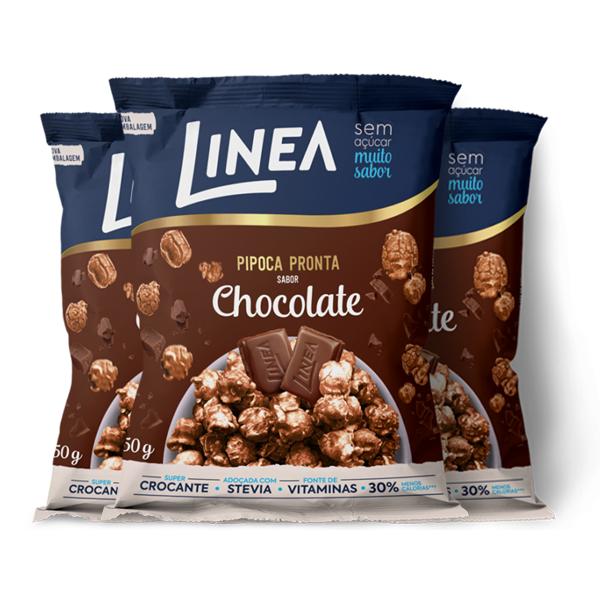 Pipoca Zero Açúcar Linea Chocolate contendo 3 pacotes de 50g cada