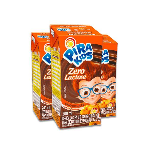 Pirakids Achocolatado Zero Lactose Piracanjuba contendo 3 unidades de 200ml cada