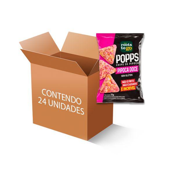 Popps Chips de Pipoca Doce Roots to go contendo 24 unidades de 35g