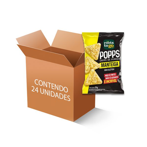 Popps Chips de Pipoca Manteiga Roots to go contendo 24 unidades de 35g