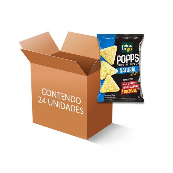 Popps Chips de Pipoca Natural Roots to go contendo 24 unidades de 35g
