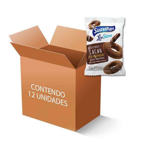 Rosquinhas de Cacau Zero Açúcar, Zero Lactose Suavipan contendo 12 pacotes de 30g cada