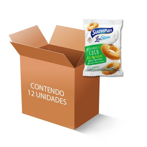 Rosquinhas de Coco Zero Açúcar, Zero Lactose Suavipan contendo 12 pacotes de 30g cada