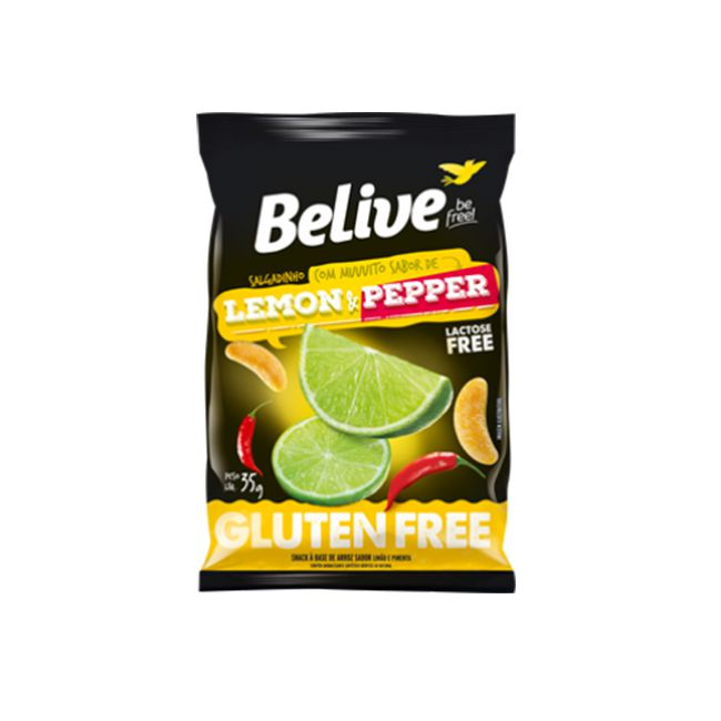 Salgadinho Belive Lemon & Pepper Sem Glúten 35g