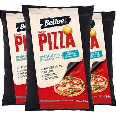 Salgadinho Belive Pizza Contendo 3 Pacotes De 35g