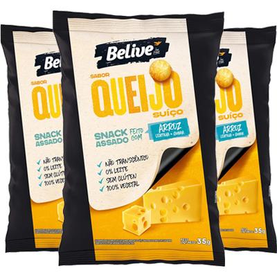 Salgadinho Belive Zero Glúten Zero Lactose Queijo Suiço Contendo 3 Pacotes De 35g Cada