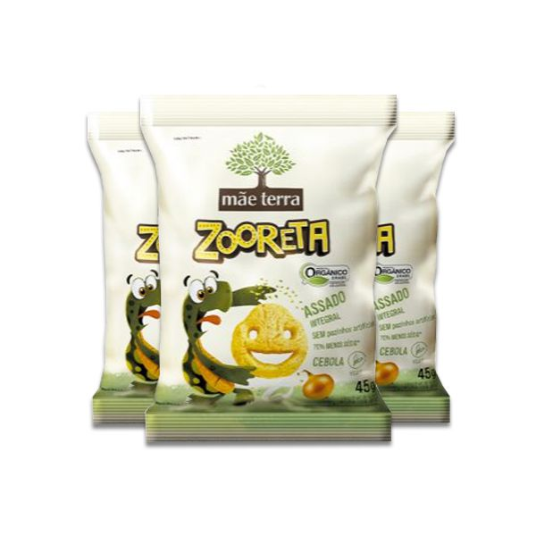 Salgadinho Ceboloko Zooreta Mãe Terra Natural Contendo 3 Pacotes De 45g Cada