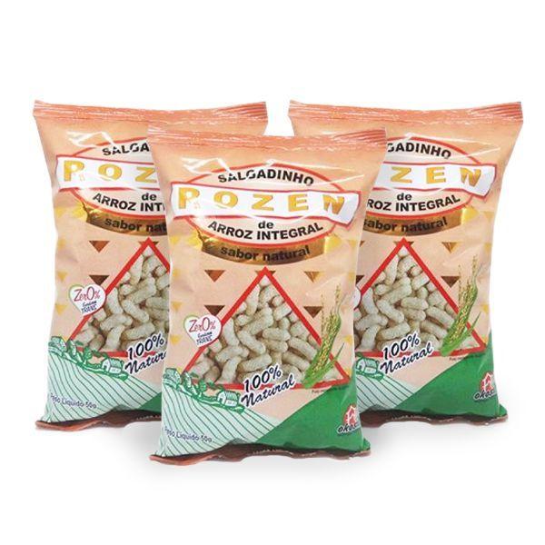 Salgadinho De Arroz Integral Rozen Natural 3 Cereais Contendo 3 Pacotes De 50g Cada
