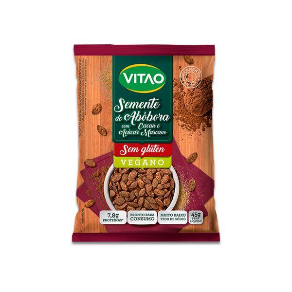 Semente de Abóbora com Cacau e Açúcar Mascavo Vegano, Sem Glúten Vitao 45g