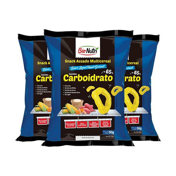 Snack Bionutri Multicereal Carboidratos Sabor Lemon Pepper Gourmet Contendo 3 Pacotes De 50g Cada