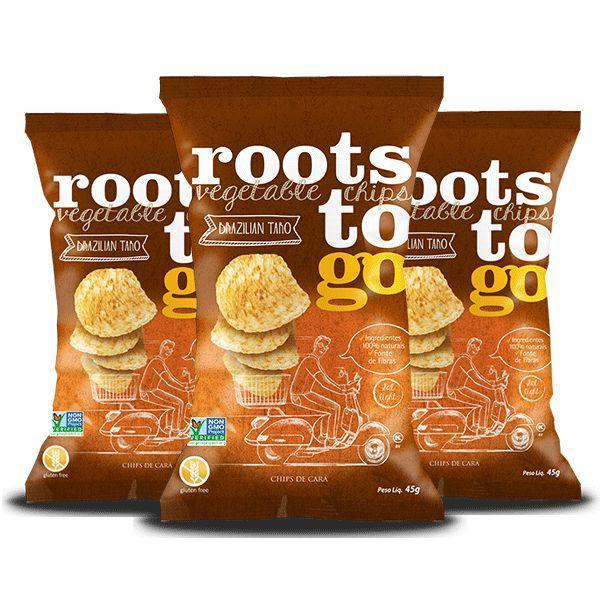 Snack Brazilian Taro - Chips De Cará Roots To Go Contendo 3 Pacotes De 45g Cada