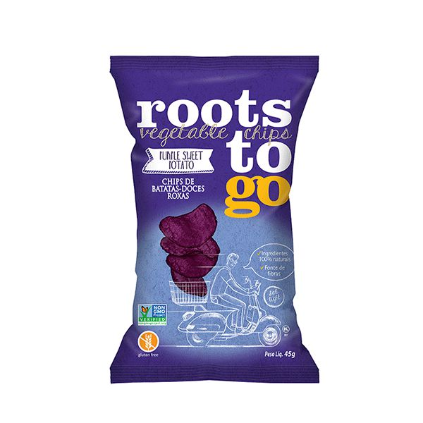 Snack Purple Sweet Potato - Chips De Batatas-doces Roxas Roots To Go 45g