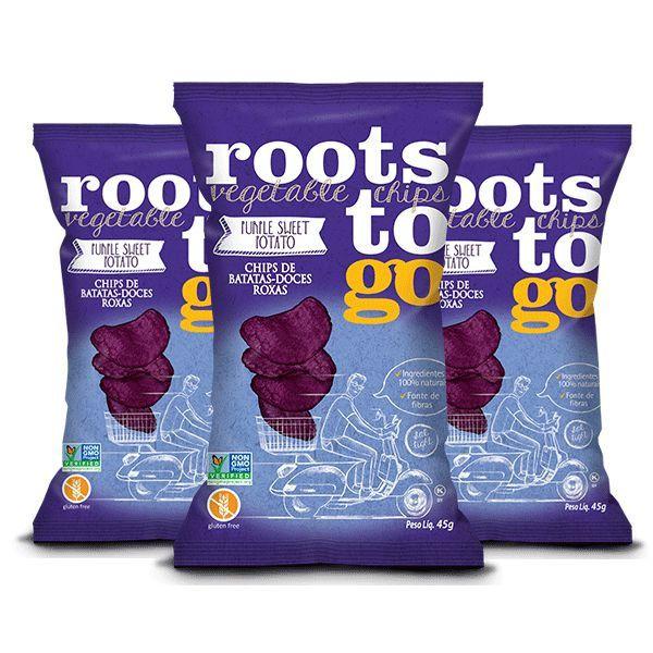 Snack Purple Sweet Potato - Chips De Batatas-doces Roxas Roots To Go Contendo 3 Pacotes De 45g Cada