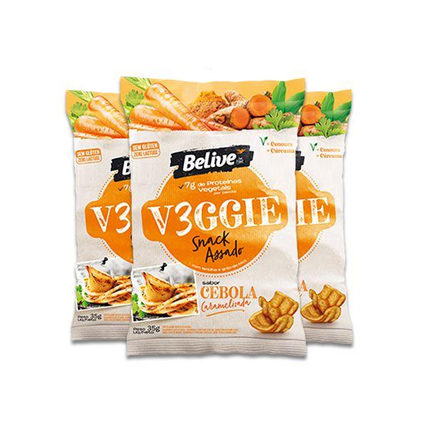 Snack V3ggie Cebola Caramelizada Zero Glúten, Zero Lactose Veggie Belive contendo 3 pacotes de 35g cada