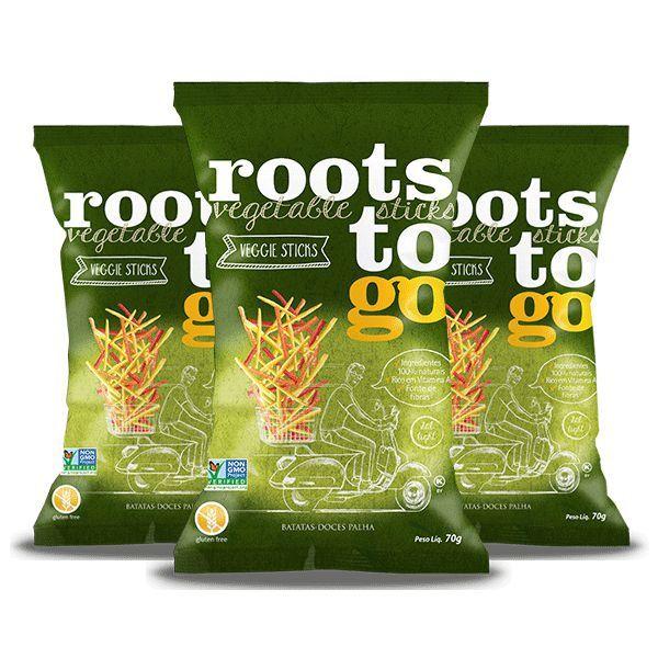 Snack Veggie Sticks - Batatas-doces Palha Roots To Go Contendo 3 Pacotes De 70g Cada