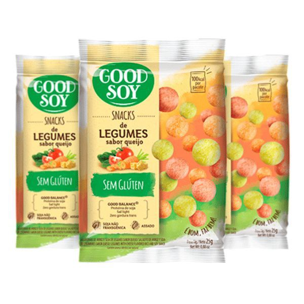 Snacks De Soja Good Soy De Legumes Sabor Queijo Contendo 3 Pacotes De 25g Cada