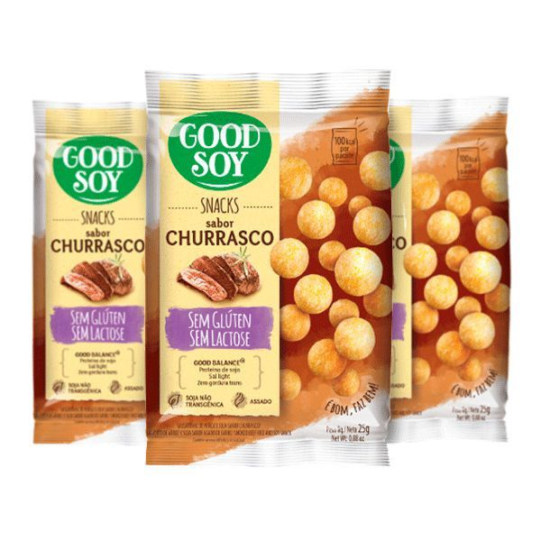 Snacks De Soja Good Soy Sabor Churrasco Contendo 3 Pacotes De 25g Cada