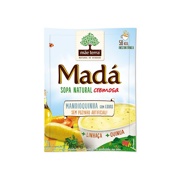 Sopa Natural Cremosa Mandioquinha Com Ervas Mãe Terra Madá 17g - 1 Porção