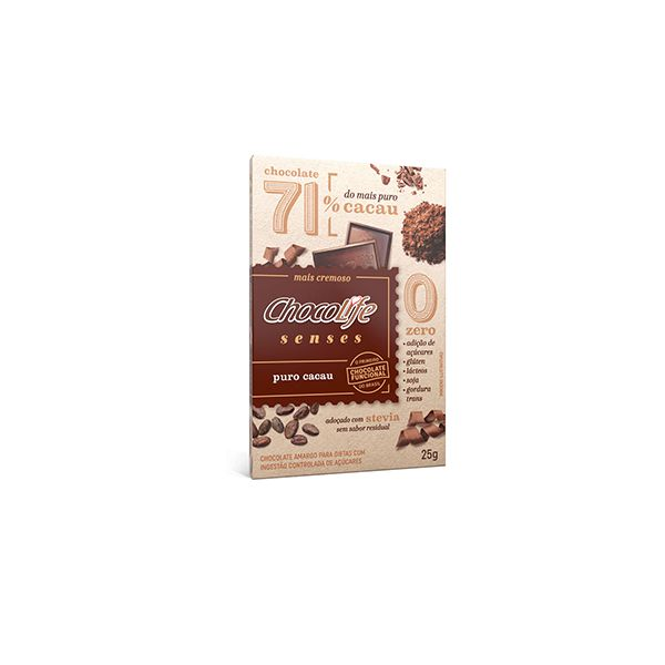Tablete Chocolife Senses 71% Cacau Puro Cacau 25g