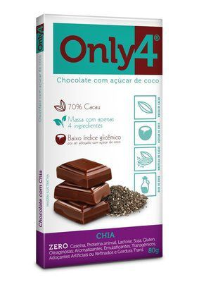 Tablete De Chocolate Com Açúcar De Coco E Chia Only4 80g