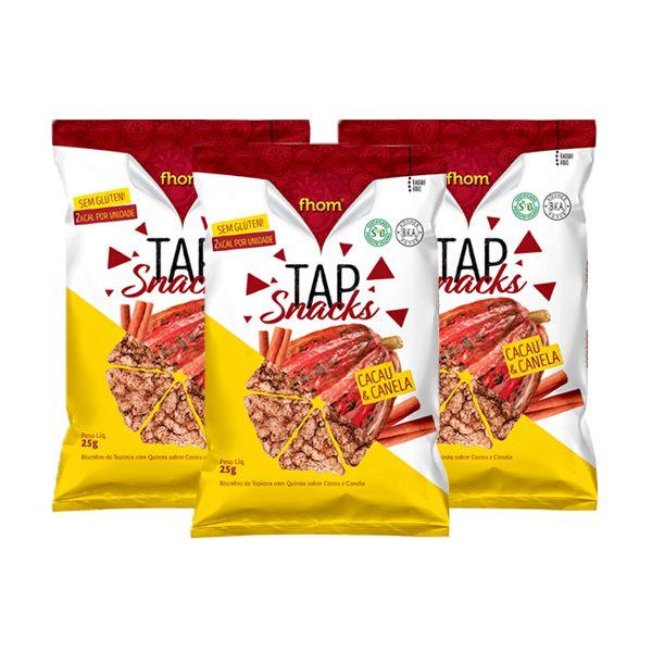 Tap Snacks Zero Glúten, Zero Lactose Cacau E Canela Fhom 25g Contendo 3 Pacotes De 25g Cada
