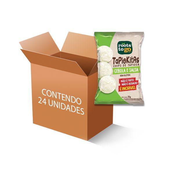 Tapiokitas Chipps de Tapioca Cebola e Salsa Roots to go contendo 24 unidades de 35g