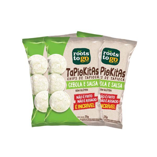 Tapiokitas Chips De Tapioca Cebola E Salsa Sem Glúten Roots To Go Contendo 3 Pacotes De 35g Cada