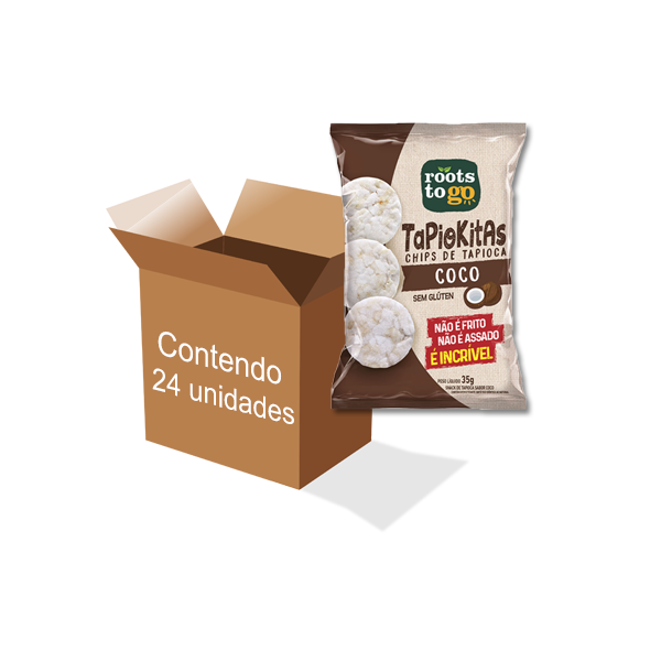 Tapiokitas Chips de Tapioca Coco Sem Glúten Roots to go contendo 24 unidades de 35g