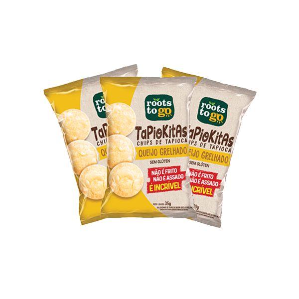 Tapiokitas Chips De Tapioca Queijo Grelhado Sem Glúten Roots To Go Contendo 3 Pacotes De 35g Cada