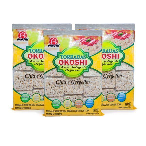 Torrada Orgânica Zero Glúten Chia E Gergelim Okoshi Contendo 3 Pacotes de 75g Cada.